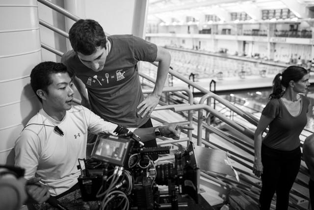 Hamilton Yu (DP) and Brian Blum (Director) prep the shot