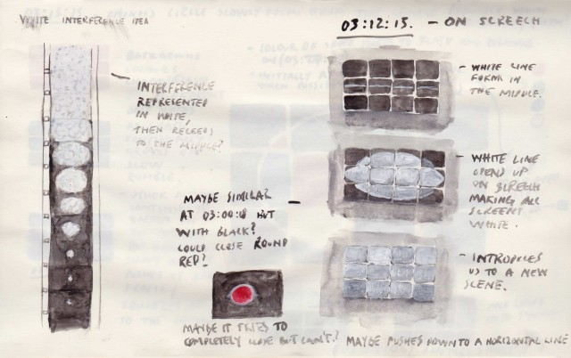 Sketchbook page from the preproduction of '4:3'