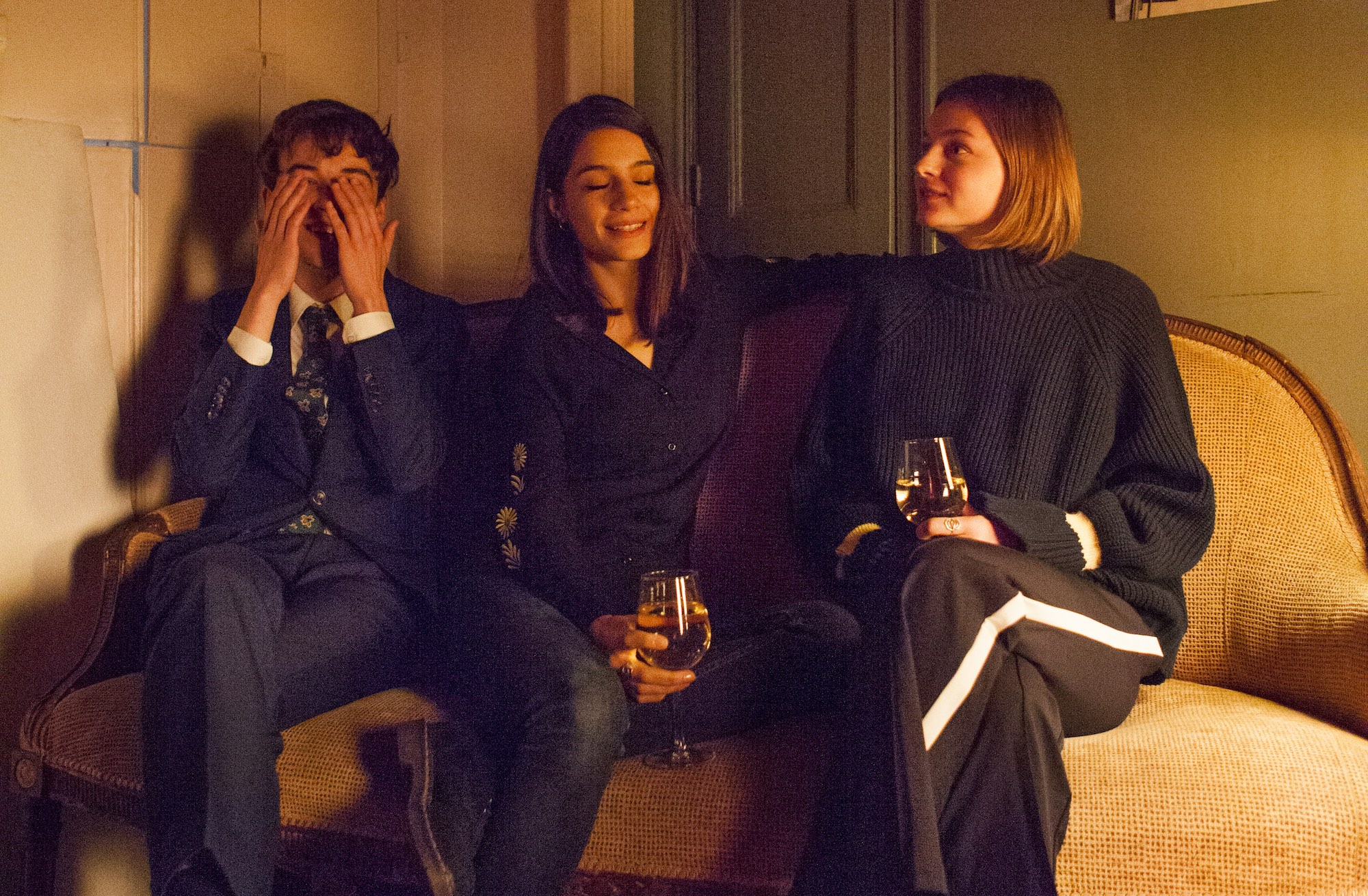 Alex Lawther, Olivia Popica and Emma Corrin on the set of Alex's Dream.
